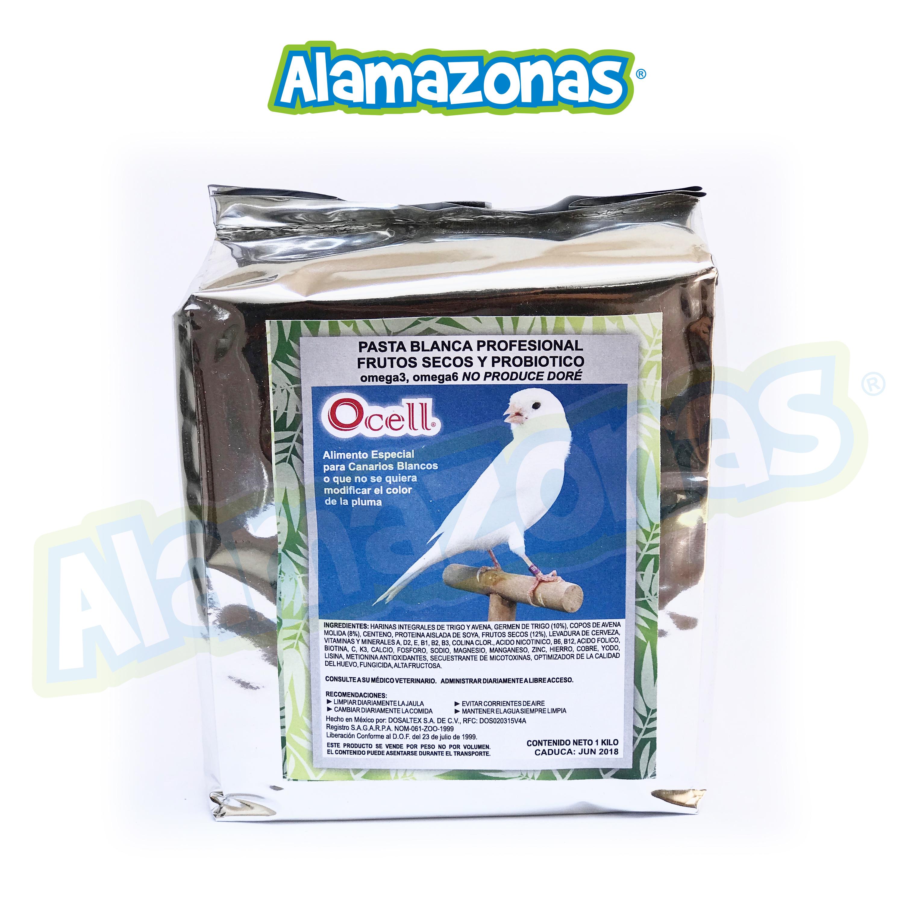 Pasta Profesional de Cría Blanca con Omega 3-6 y Probióticos 1kg Ocell Alamazonas